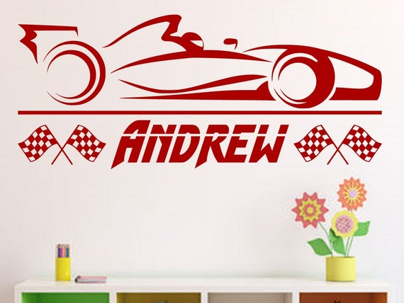 Formula Race Car With Personalized Name Custom Vinyl Wall - Formula 1 wall decals