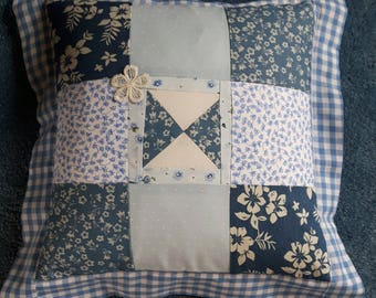 Blue & White Patchwork Feather Cushion
