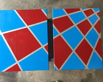 Acrylic on canvas custom abstract art.  Two piece painting.