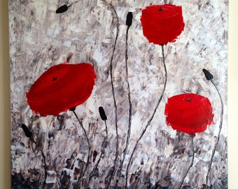Poppies - large acrylic paintin