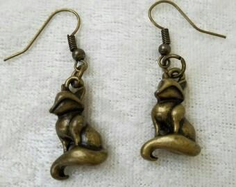 Foxy Loxy Earrings, Fox Earrings, Gold Earrings, Antique Gold Earrings, Animal Earrings, Woodland Earrings, Cute Animal Earrings, Charms