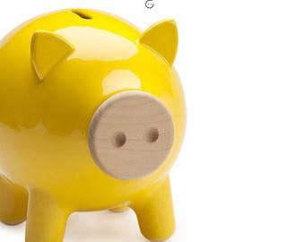 Yellow piggy bank, ceramic piggy bank, large piggy bank, kids piggy bank, modern piggy bank, housewarming gift, modren home decor, PIGZ