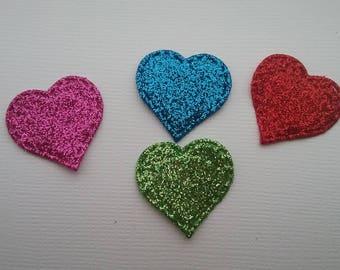 Die Cut Glitter Foam 1 inch Hearts