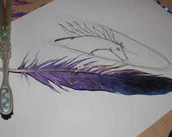 painted feather motif cosmic horse