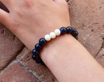 Sparkly and White Beaded Bracelet