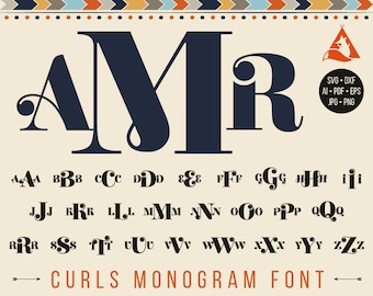 Curls Font Svg Monogram Alphabet Svg Cut Files Curlz Letters Svg Curly Monogram Initials Svg Cricut Png Eps Pdf Jpg Ai Dxf Silhouette Studio