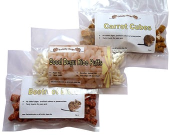 Good Degu Treats-  Rice puff, Beetroot Bites, Carrot Cubes. Small pet treats.