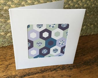 Patchwork inspired print, shades of blue handmade card