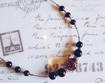 Brown glass pearls necklace