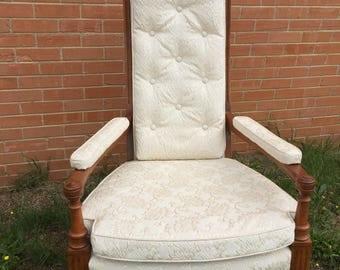 Vintage Chair, Mid-Century Chair, White Chair, High Back Chair