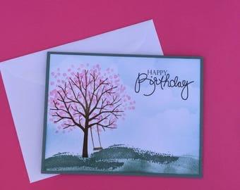 Happy Birthday Card, Feminine Birthday Card, Cheerful, Nature, Tree loving, Birthday Card for Women,Pink Tree Blossoms