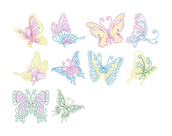 10 Butterfly colorwork embroidery designs, machine embroidery, butterfly embroidery, filled embroidery patterns, animal, instant download,