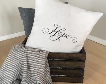 "Hope | Canvas Drop Cloth | 18""x18"" PILLOW COVER"