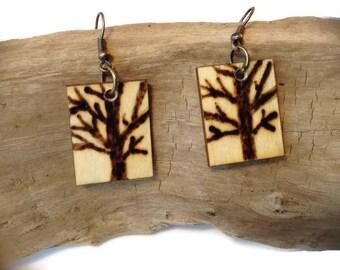Wooden tree earrings, wood burned earrings, lightweight drop earrings, gift for woman, organic jewelry, natural earrings,