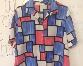 Retro Colorblock Shirt Men's size M