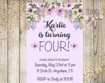 Girl Birthday Invitation, Floral, Lavender, Girl Birthday, Invite, Digital File, Printable Invitation