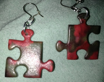 Puzzle piece earrings