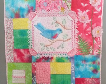 Art Quilt Rainbow Patchwork Bluebird OOAK Handmade Wall Hanging Buttons Ribbon Embroidery Stenciling Hand Dyed Fabric Batiks Ready to Hang