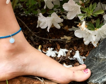 Blue Leather Anklet W/ Pendant