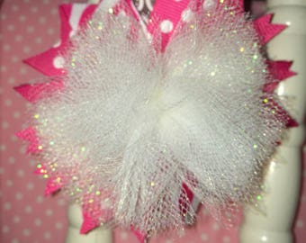 Pink and white tulle hairbow