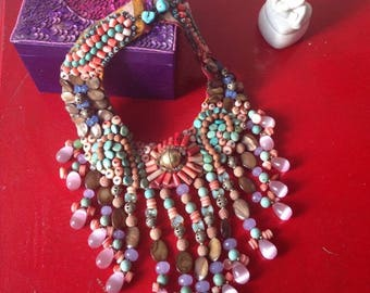 Traditional Ethnic Turkish Collar Necklace ladened with Semi-Precious Gemstone Beads including Moonstone, Turquoise and Tigerstone