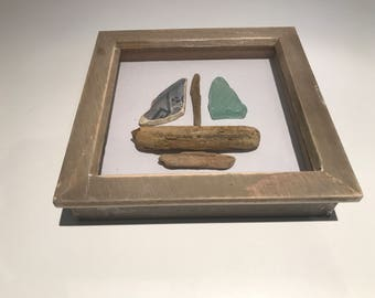 Beach pottery, sea glass and driftwood box frame boat. 6 x 6