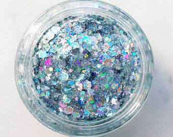 Silver Unicorn Glitter • Festival Glitter •  Glitter Makeup • Chunky Cosmetic Glitter | Dance - Eyes, Lips, Face | Face Paint Glitter