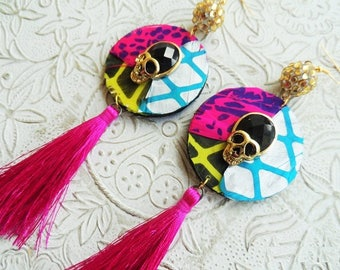 Skull tassel earrings