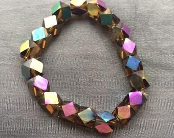 bracelet made of cut crystal rainbow colours