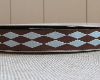 "Brown and Blue Harlequin Jacquard Ribbon, 5/8"", 16mm, Reversible"