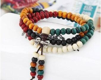 fashion bracelets natural 6mm rosewood beads 108 buddha bracelets men women long bangle religion gift tibet jewelry