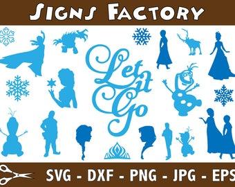 Frozen SVG, Elsa SVG, Frozen Clipart, Elsa Silhouette SVG Cut table Design,svg,dxf,png Use With Silhouette Studio & Cricut_Instant Download