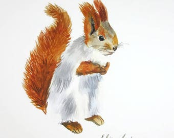 ORIGINAL watercolor painting, Squirrel watercolor, Baby Nursery, Wall Art, Wall Decoration, cute animal painting, Squirrel painting