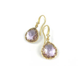 Earrings with lavender crystal, gold plated
