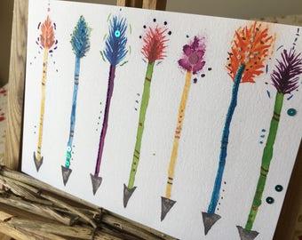 Embellished mixed media Arrows