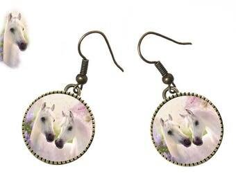 White Camargue horses earrings, the camargue, metal bronze tone