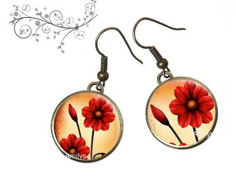 Vintage red flowers under cabochons earrings bronze, mothers day gift. R99