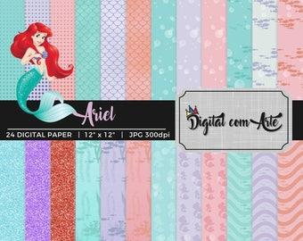 Little Mermaid Princess Ariel Digital Paper