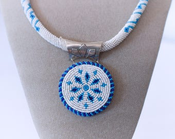Navajo Hand Made Beaded Necklace and Round Medallian Pendant