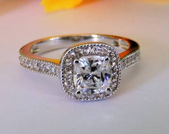 1.50 CT Art Deco Silver Engagement Ring - .925 Silver Promise and Anniversary Halo Ring.