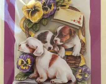 Puppy 3D/decoupage greetings card