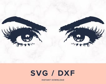 Eyes SVG, Eyelashes SVG, Eyes Silhouette, Eyelashes Silhouette, Eyes Dxf, Eyelashes Dxf, Design for Cricut or Silhouette, Instant Download