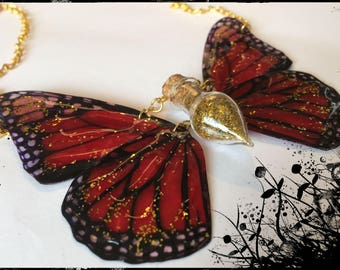 Red admiral insect wing, glitter gold vial necklace