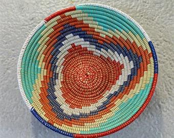 multi coloured Medium size tray, fruit bowl, bread basket,  recycled plastic basket,