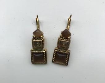 Vintage Brass Earrings With Brown Glass, Vintage Brass Tone and Brown Earrings, Vintage Geometric Earrings, Drop Earrings