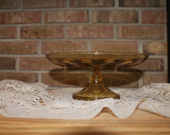 Amber Glass Pedestal Cake Plate/Vintage Cake Plate/Vintage Pedestal Cake Stand