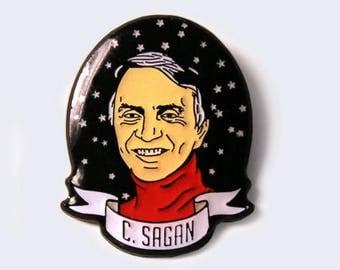 Carl Sagan Glow-in-the-Dark Enamel Pin - Science Heroes Series