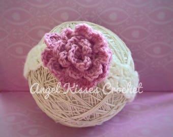 Flower headband, crochet, hair accessory, Newborn, 0-3 months, 3-6 months, 6-12 months, toddler, child. Photo prop, baby shower gift