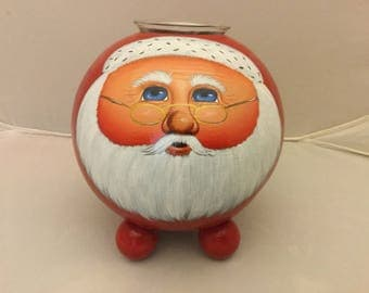 Red Gourd Santa Votive Holder