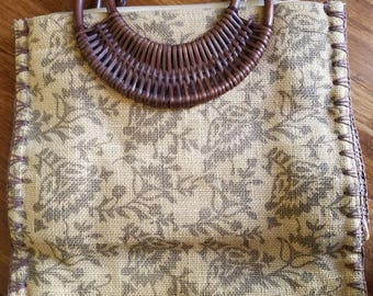 Vintage burlap bamboo tropical Hawaiian tote bag